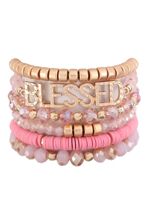 S17-7-3-HDB3129PK-BLESSED CHARM MULTILINE BEADED BRACELET-PINK/6PCS