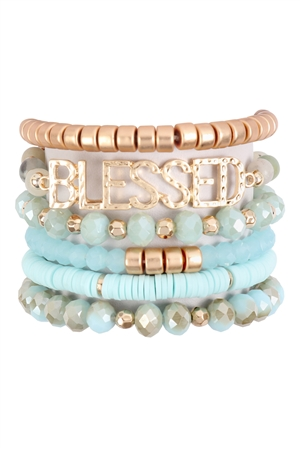 S17-7-2-HDB3129POM-BLESSED CHARM MULTILINE BEADED BRACELET-AMAZONITE/6PCS