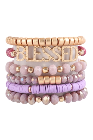 S17-7-3-HDB3129PU-BLESSED CHARM MULTILINE BEADED BRACELET-PURPLE/6PCS
