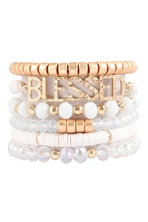S17-7-2-HDB3129WT-BLESSED CHARM MULTILINE BEADED BRACELET-WHITE/6PCS