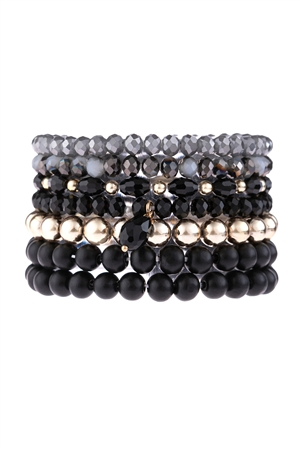S17-7-1-HDB3155BK-MULTI LINE BEADED BRACELET-BLACK/6PCS