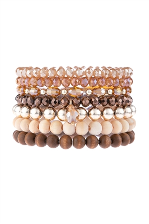 S17-7-4-HDB3155BR-MULTI LINE BEADED BRACELET-BROWN/6PCS