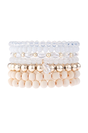 S17-7-1-HDB3155NA-MULTI LINE BEADED BRACELET-NATURAL/6PCS
