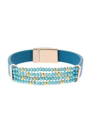 S17-10-1-HDB3156BL-4 LINE  BEADED LEATHER STRAP MAGNETIC BRACELET-BLUE/6PCS