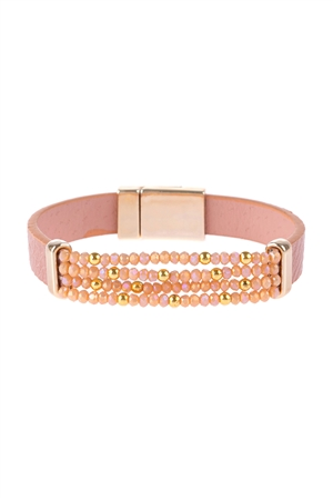 S17-10-1-HDB3156PK-4 LINE  BEADED LEATHER STRAP MAGNETIC BRACELET-PINK/6PCS