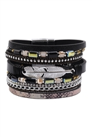 S17-6-2-HDB3158BK-MULTI LINE LEATHER FEATHER CHARM WITH MAGNETIC LOCK BRACELET-BLACK/6PCS