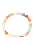 "S5-6-2-HDB3222PMT-""FAITH"" BAR CHARM BEADED BRACELET-PASTEL MULTI/6PCS"