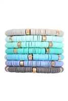 S29-2-2-HDB3238TQ-MULTI-LINE BEADED STRETCH BRACELET-TURQUOISE/6PCS