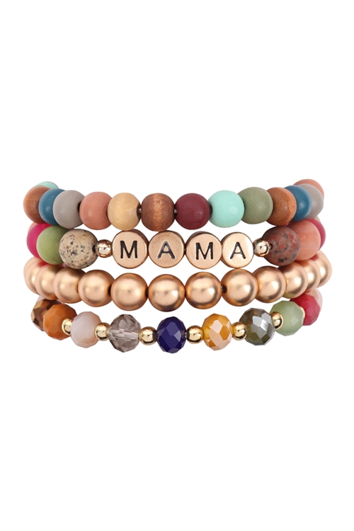 S21-9-1-HDB3241MT-MAMA MIXED BEADS MULTILINE STRETCH BRACELET/6PCS