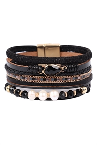S23-11-1-HDB3272BK-LEATHER MIX BEADED MAGNETIC WRAP BRACELET-BLACK/6PCS