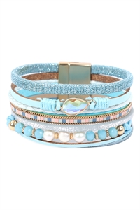 S23-11-1-HDB3272BL-LEATHER MIX BEADED MAGNETIC WRAP BRACELET-BLUE/6PCS