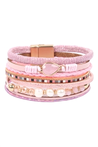 S23-11-1-HDB3272PK-LEATHER MIX BEADED MAGNETIC WRAP BRACELET-PINK/6PCS