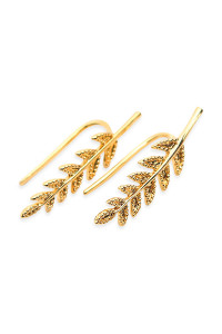 S5-6-3-AHDE1266G GOLD LEAF CRAWLER EARRING/6PAIRS