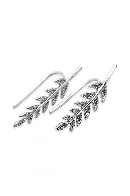 S5-6-3-AHDE1266R SILVER LEAF CRAWLER EARRING/6PAIRS