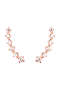 S4-4-3-AHDE1723RG ROSE GOLD TINY CUSHION CUBIC ZIRCONIA CRAWLER EARRINGS/6PAIRS