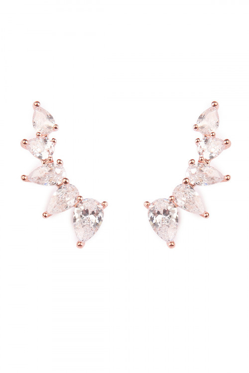 S6-4-3-AHDE1728RG ROSE GOLD TEARDROP CUBIC ZIRCONIA CRAWLER EARRINGS/6PAIRS