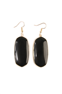 S7-4-3-AHDE1815BK BLACK NATURAL OVAL STONE EARRING/6PAIRS