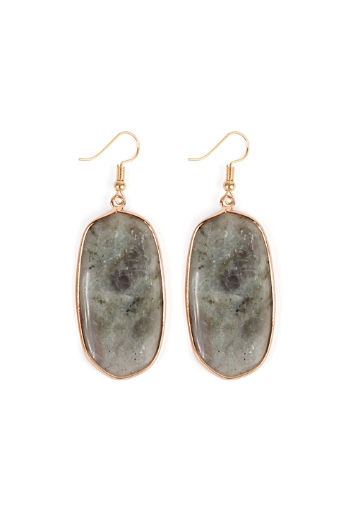 S4-5-3-AHDE1815GY GRAY NATURAL OVAL STONE EARRING/6PAIRS