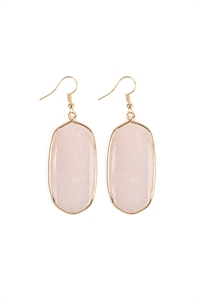 S7-4-3-AHDE1815PK PINK NATURAL OVAL STONE EARRING/6PAIRS