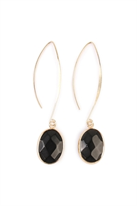 S4-5-4-AHDE1816BK BLACK NATURAL STONE DROP EARRINGS/6PAIRS