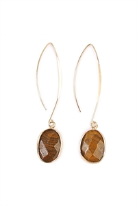 S4-5-4-AHDE1816BR BROWN NATURAL STONE DROP EARRINGS/6PAIRS