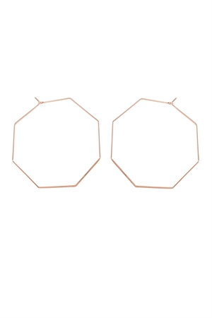 S7-4-3-AHDE1853RG ROSE GOLD OCTAGON BRASS EARRING/6PAIRS