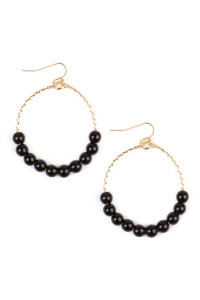 S5-5-1-AHDE1857BK BLACK NATURAL STONE EARRING/6PAIRS