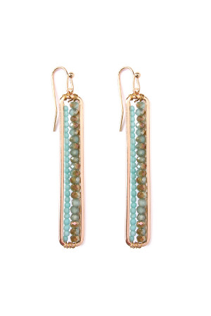 S4-6-3-AHDE1918BL BLUE BAR CUTOUT BEADED DROP EARRINGS/6PAIRS