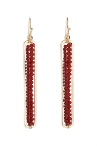 A3-1-5-AHDE1918BU BURGUNDY BAR CUTOUT BEADED DROP EARRINGS/6PAIRS
