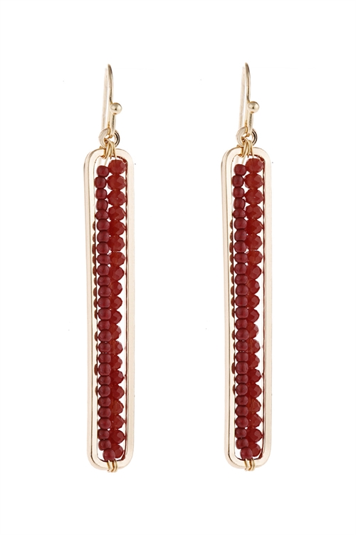 A3-1-5-HDE1918BU BURGUNDY BAR CUTOUT BEADED DROP EARRINGS/6PAIRS
