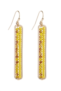 A3-1-5-AHDE1918DMU DARK MUSTARD BAR CUTOUT BEADED DROP EARRINGS/6PAIRS
