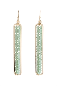A3-1-5-AHDE1918GR GREEN BAR CUTOUT BEADED DROP EARRINGS/6PAIRS