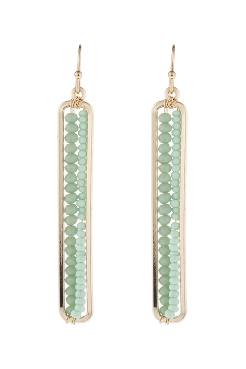 A3-1-5-HDE1918GR GREEN BAR CUTOUT BEADED DROP EARRINGS/6PAIRS