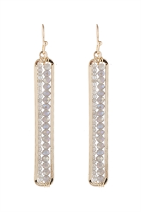 A3-1-5-AHDE1918GY GRAY BAR CUTOUT BEADED DROP EARRINGS/6PAIRS