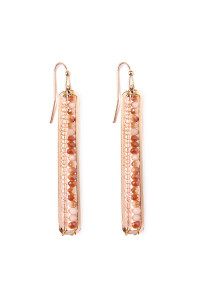 S4-6-3-AHDE1918LBR LIGHT BROWN BAR CUTOUT BEADED DROP EARRINGS/6PAIRS
