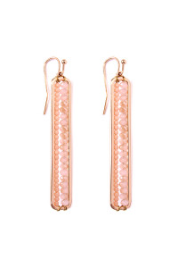S4-6-3-AHDE1918PK PINK BAR CUTOUT BEADED DROP EARRINGS/6PAIRS