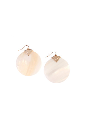 S7-5-3-AHDE1919NA NATURAL ROUND SHELL DROP EARRINGS/6PAIRS
