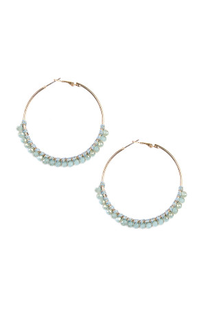 S4-6-3-AHDE1924BL BLUE BEADS HOOP EARRINGS/6PAIRS