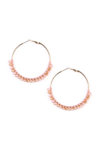 S4-6-3-AHDE1924PK PINK BEADS HOOP EARRINGS/6PAIRS
