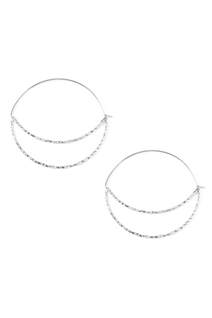 S5-6-4-AHDE2034S SILVER QUARTER MOON CUT OUT HOOP EARRINGS/6PAIRS