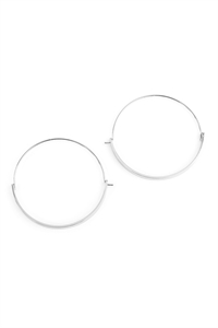 S6-6-3-AHDE2065R SILVER BAR HINGE HOOP EARRINGS/6PAIRS