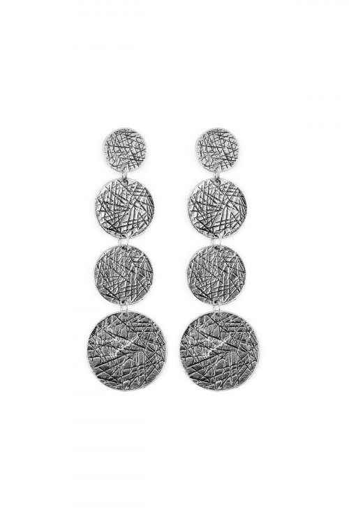 A1-3-3-AHDE2074BS BURNISH SILVER FOUR DISC DANGLE EARRING/6PAIRS