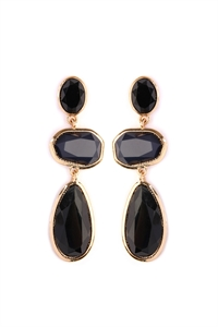 S7-5-4-AHDE2081BK BLACK GEM CUT ACRYLIC DROP EARRINGS/6PAIRS