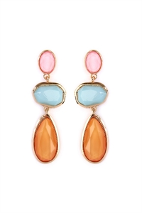 S7-5-4-AHDE2081MT4 MULTI COLOR GEM CUT ACRYLIC DROP EARRINGS/6PAIRS