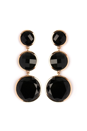 S4-6-2-AHDE2082BK BLACK ROUND GEM CUT EARRING/6PAIRS