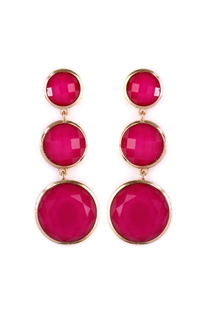 S4-6-2-AHDE2082HPK HOT PINK ROUND GEM CUT EARRING/6PAIRS