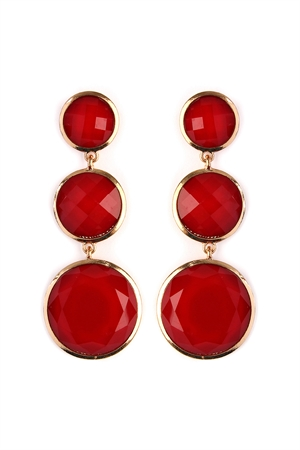 S4-6-2-AHDE2082RD RED ROUND GEM CUT EARRING/6PAIRS