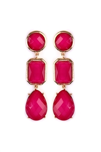 S4-6-3-AHDE2083HPK HOT PINK TRI SHAPES GEM CUT DROP EARRING/6PAIRS