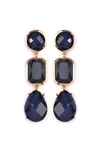 S4-6-3-AHDE2083NV NAVY TRI SHAPES GEM CUT DROP EARRING/6PAIRS