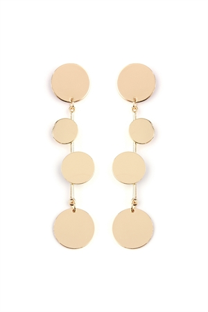 S5-4-3-AHDE2156G GOLD DANGLING DISCS EARRING/6PAIRS